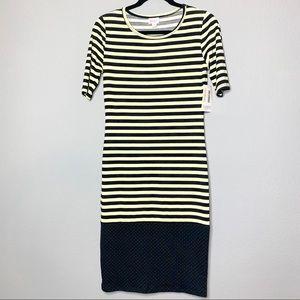 Lularoe Julia sz XS stripes and polka dots dress